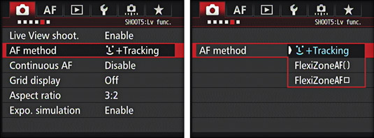 The Live View Auto Focus mode options on the Canon EOS 7D.